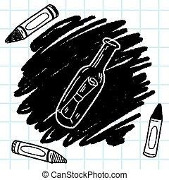doodle, boodschap, fles