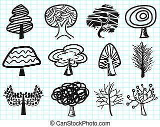 doodle, boompje, iconen