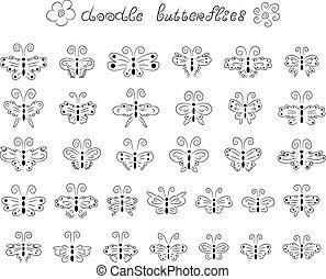 doodle, borboletas, cute
