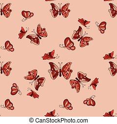 doodle, borboletas, seamless, padrão