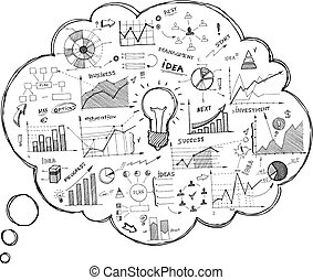 doodle, borbulho fala, ícone, infographics