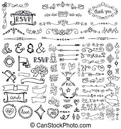 Doodle border, arrows, decor element set