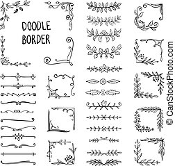 Doodle border. Flower ornament frame, hand drawn decorative corner elements, floral sketch pattern. Vector doodle frame