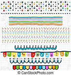 doodle borders on scribbled school page kindergarten preschool background