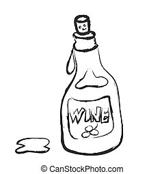 doodle bottle of wine, vector icon
