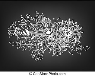 Doodle bouquet od flowers and leaves on chalkboard...