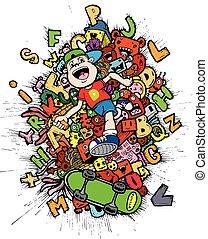 doodle-boy, skateboarder, spotprent