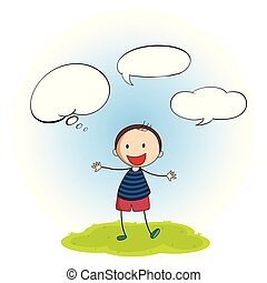 Doodle boy with speech balloon