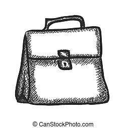 doodle briefcase,  vector