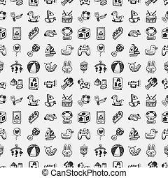 doodle, brinquedo, seamless, padrão