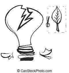 doodle broken light bulb, vector