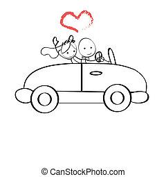 doodle, bruidegom, illustratie, bruid, auto, paardrijden