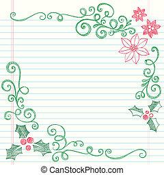 doodle, brzeg, boże narodzenie, jagoda, ostrokrzew