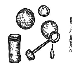 doodle bubble blower, vector