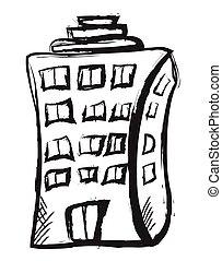 doodle building icon, vector