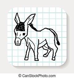 doodle, burro