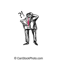 Confused business character looking at papers doodle vector illustration