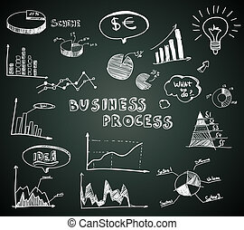 Doodle business diagrams set on blackboard