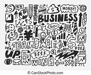 doodle business element, cartoon vector illustration