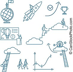 Doodle business people icons