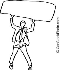 doodle businessman holding blank sign over his head vector illustration sketch hand drawn with black lines isolated on white background