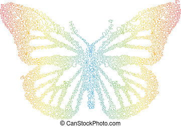 Doodle Butterfly Rainbow
