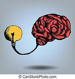 doodle, cérebro, bulbo, luz