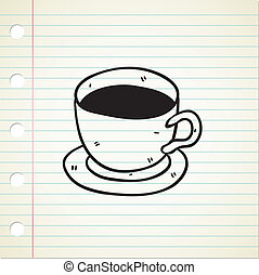 doodle, café, estilo, ícone