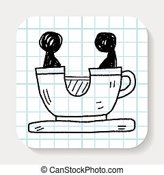 doodle, café, parque, jogo, copo