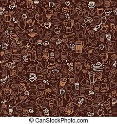 doodle, café, seamless, fundo