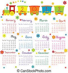 doodle, calendário, para, 2013