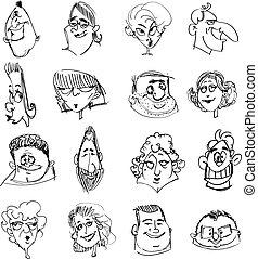 doodle, caras