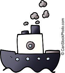 doodle, caricatura, bote, vapor