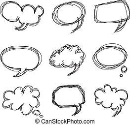 doodle, caricatura, fala, bolhas, mão, desenho