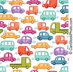 doodle, carros, seamless, padrão