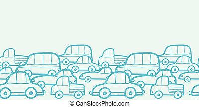 doodle, carros, seamless, padrão experiência, horizontais, borda