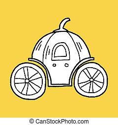 doodle, carruagem, abóbora