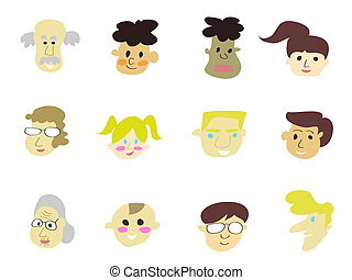 doodle cartoon people icons for design