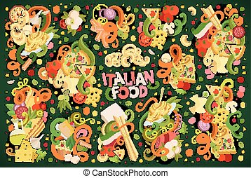 Doodle cartoon set of italian food designs