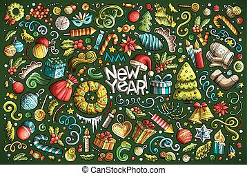 Doodle cartoon set of New Year and Christmas objects -...