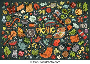Doodle cartoon set of picnic objects