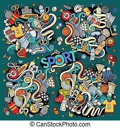 Doodle cartoon set of Sport designs