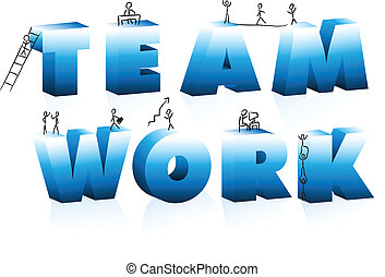 Doodle Cartoons Climbing Word Team Work. Editable Vector