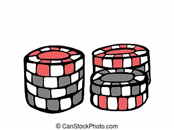 doodle casino chips isolated