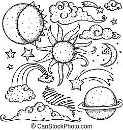 doodle, celestial, elementos