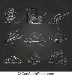 Doodle cereals groats and porridge, muesli and cornflakes, oat and rye, wheat and barley, millet and buckwheat, rice and corn on blackboard