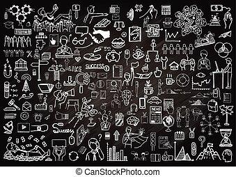 doodle, chalkboard, handlowy