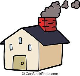doodle, chaminé, caricatura, fumar, casa