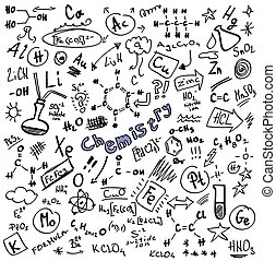 Doodle Chemistry formulas isolated