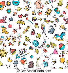 Doodle children background. Seamless pattern for cute little girls and boys. Sketch set of drawings in child style